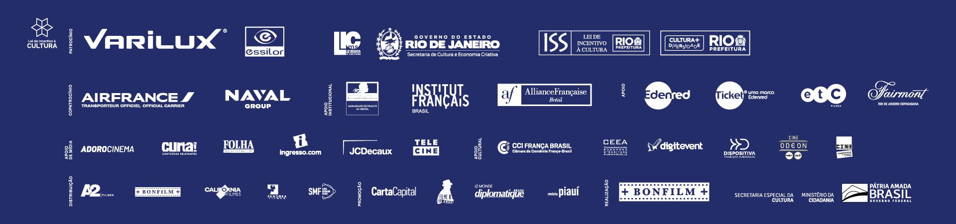 Patrocinadores, copatrocínios, apoios institucionais, de mídia e culturais, distribuição, promoção, realização